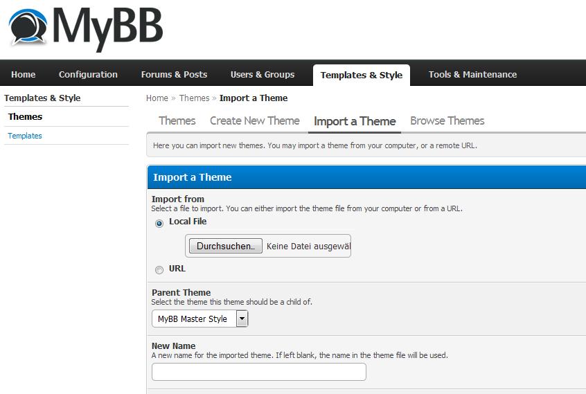 Install MyBB theme